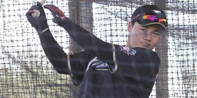 バッティング練習をする清宮幸太郎選手=2月10日、アメリカ・アリゾナ州