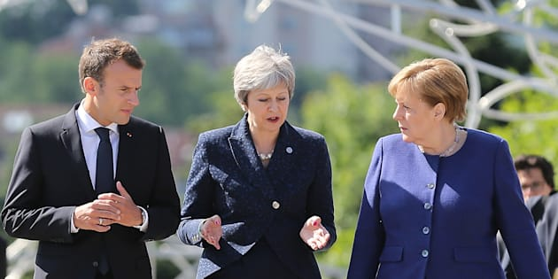 Emmanuel Macron, Theresa May et Angela Merkel à Sofia en mai 2018 (photo d'illustration)