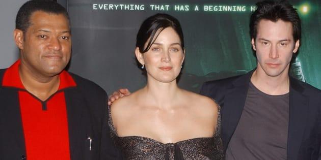 Les trois acteurs principaux de Matrix. De gauche à droite: Laurence Fishburne, Carrie-Anne Moss et Keenu Reeves