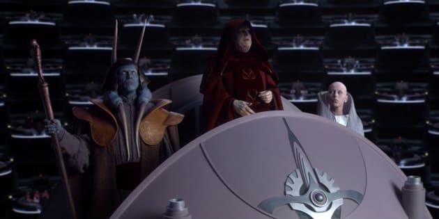 """À l'occasion de l'ouverture du 70e festival de Cannes, tout Le HuffPost est illustré avec des films présentés à Cannes depuis 1946. Ici, l'image est tirée du film """"Star Wars La Revanche des Sith"""", réalisé par George Lucas. Il a été présenté hors compétition en 2005."""