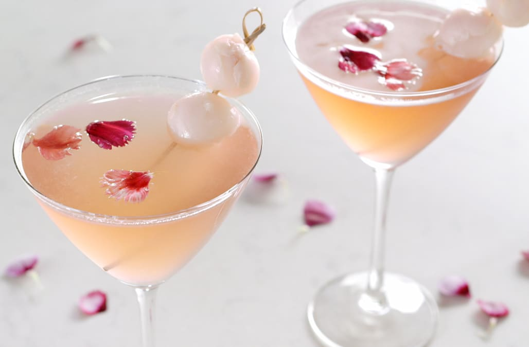 Make this refreshing and tangy rose-colored lychee cocktail this weekend