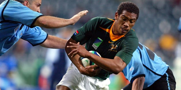 Ashwin Willemse in action against Uruguay in Perth, Australia during the 2003 Rugby World Cup.