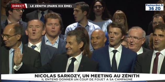 Nicolas Sarkozy lors de son meeting au Zénith de Paris, dimanche 9 octobre.