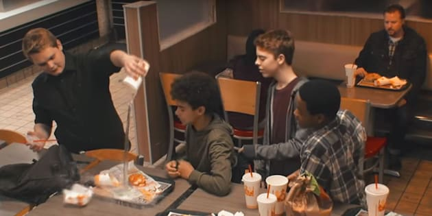 """Comparing a crushed burger to a kid being bullied is a stretch -- it is nonetheless a powerful depiction of how often we ignore displays of public harassment and children in distress."""