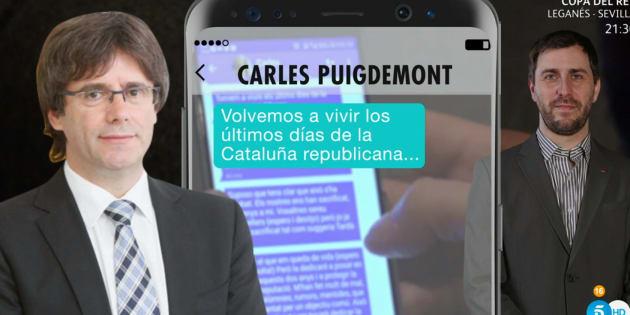Montaje de los mensajes entre Carles Puigdemont y Toni Comín.