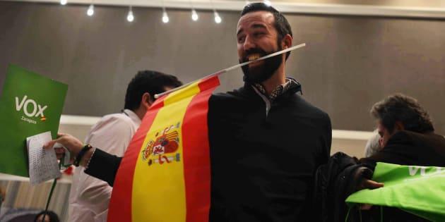 Vox celebra los resultados en Andalucía el 2 de diciembre de 2018.