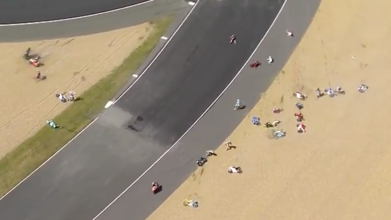 An oil slick at this MotoGP race sends the field flying