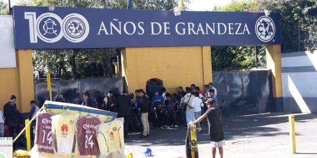 Facha de las instalaciones deportivas del Club América en el sur de Ciudad de México.