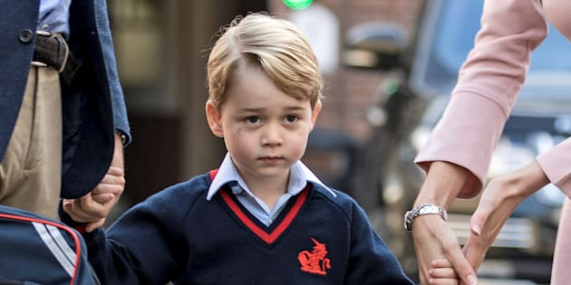 Prince George arrives for his first day of school, September 7, 2017. (REUTERS/Richard Pohle/Pool)