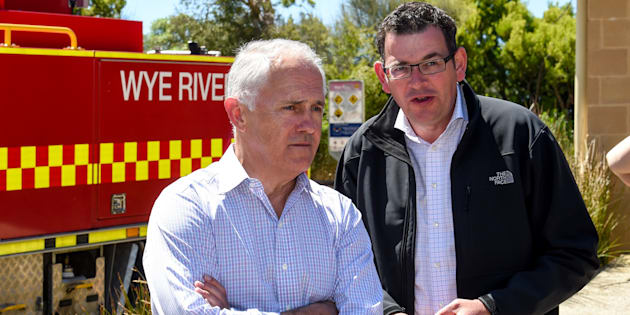 Malcolm Turnbull and Daniel Andrews at Wye River, after December bushfires in Victoria