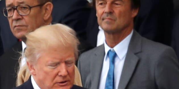 Nicolas Hulot et Donald Trump à Paris le 14 juillet 2017.