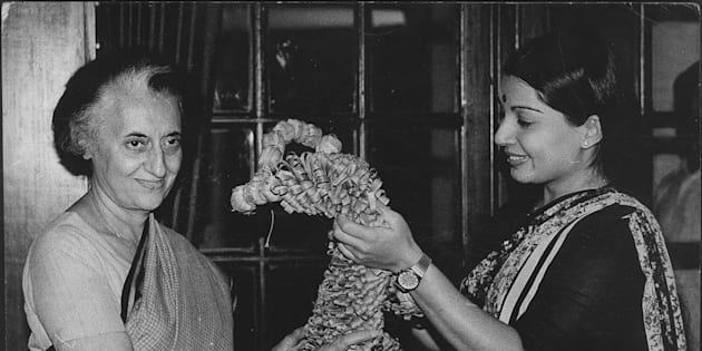 (File Photo) AIADMK Leader Jayalalithaa with the then Prime Minister Indira Gandhi.
