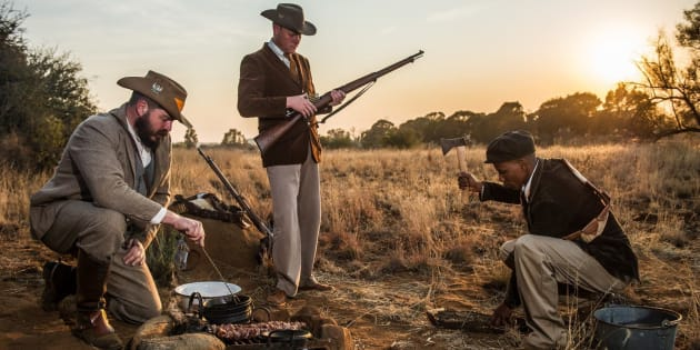 Twin Mosia (R) is trying to bring his small town to life with a museum dedicated to the memory of the Anglo-Boer and Basotho wars. Here he is taking part in a reenactment of the Anglo-Boer War. Photo: Supplied
