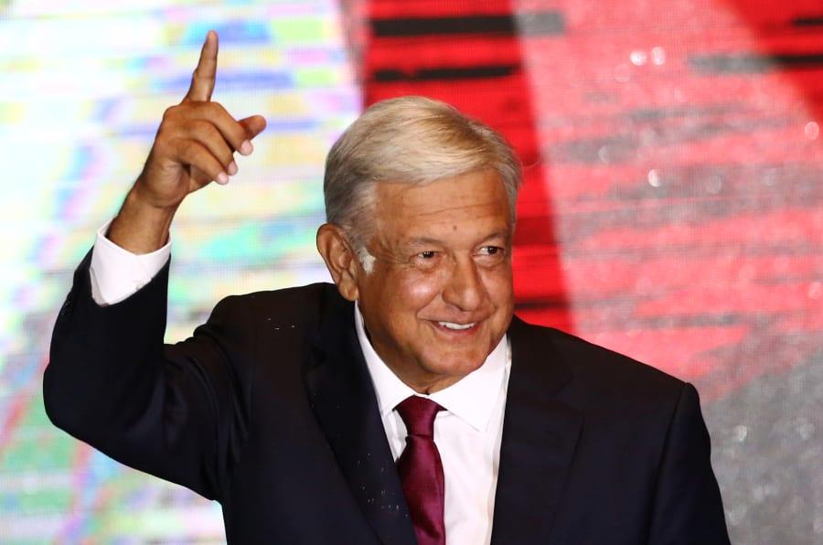 Andrés Manuel Lopez Obrador durante su festejo en el Zócalo de Ciudad de México.