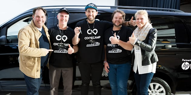 Winning entrepreneurs Code Camp Innovito were presented with the keys to their Vito van by Philip Dalidakis, Minister for Small Business, Innovation and Trade and Mercedes-Benz chief Diane Tarr.