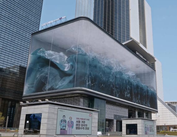 Art installation mimics waves crashing down