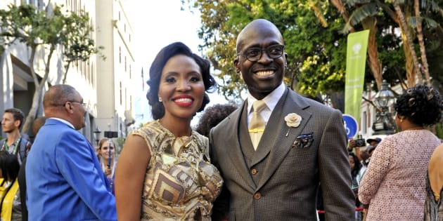 Malusi Gigaba and his wife arrive for President Jacob Zuma's State of the Nation Address on February 11, 2016 at Parliament in Cape Town, South Africa.