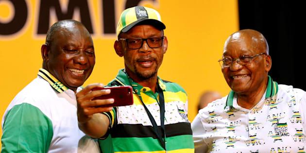Cyril Ramaphosa (L), Jacob Zuma (R) and Pule Mabe during the 54th national conference of the ANC. December 18, 2017.