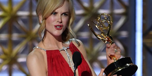 Nicole Kidman accepts the award for Outstanding Lead Actress in a Limited Series or Movie for 'Big Little Lies' at the 69th Annual Emmy Awards.