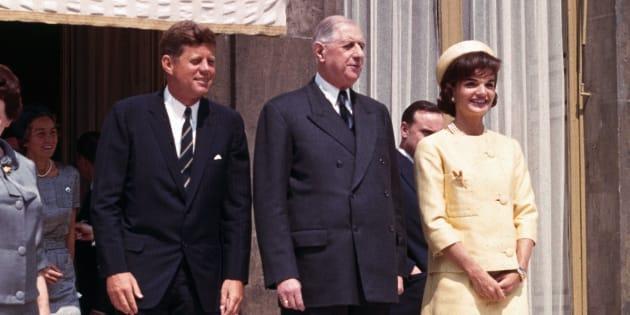 Les Kennedy avec le Général de Gaulle au Palais de l'Elysée, le 31 mai 1961.