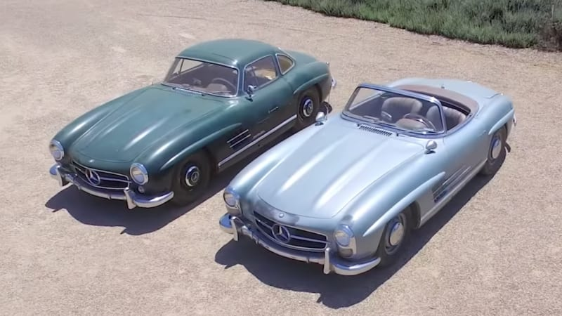 Unrestored Mercedes 300SL pair - gullwing coupe and convertible - will be sold at Pebble Beach