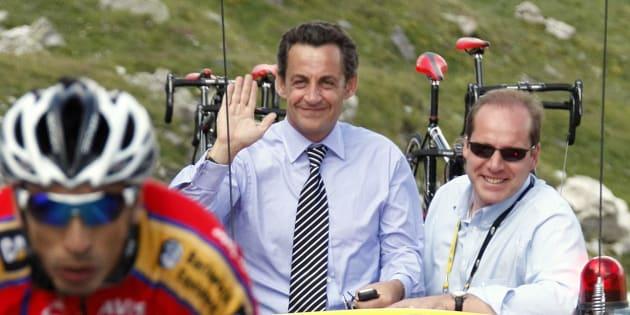 Nicolas Sarkozy sur le Tour de France en 2007.