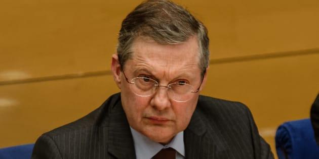 Philippe Bas présidant la commission d'enquête sénatoriale auditionnant Alexandre Benalla le 16 janvier 2019.