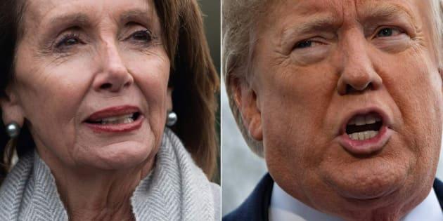 Combo con las imágenes de Pelosi (izq) y Trump (der).