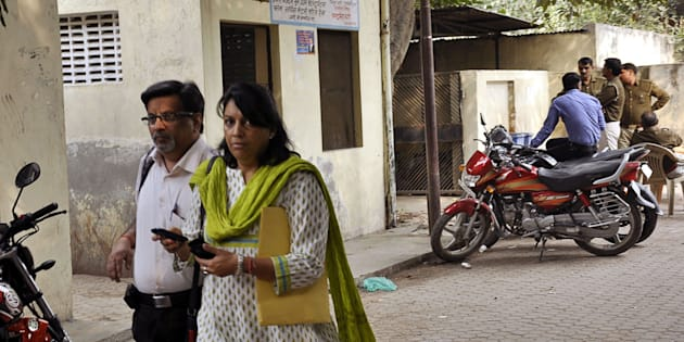 File photo of Nupur and Rajesh Talwar coming out of CBI Court after hearing in Arushi-Hemraj case on November 6, 2013 in Ghaziabad, India.
