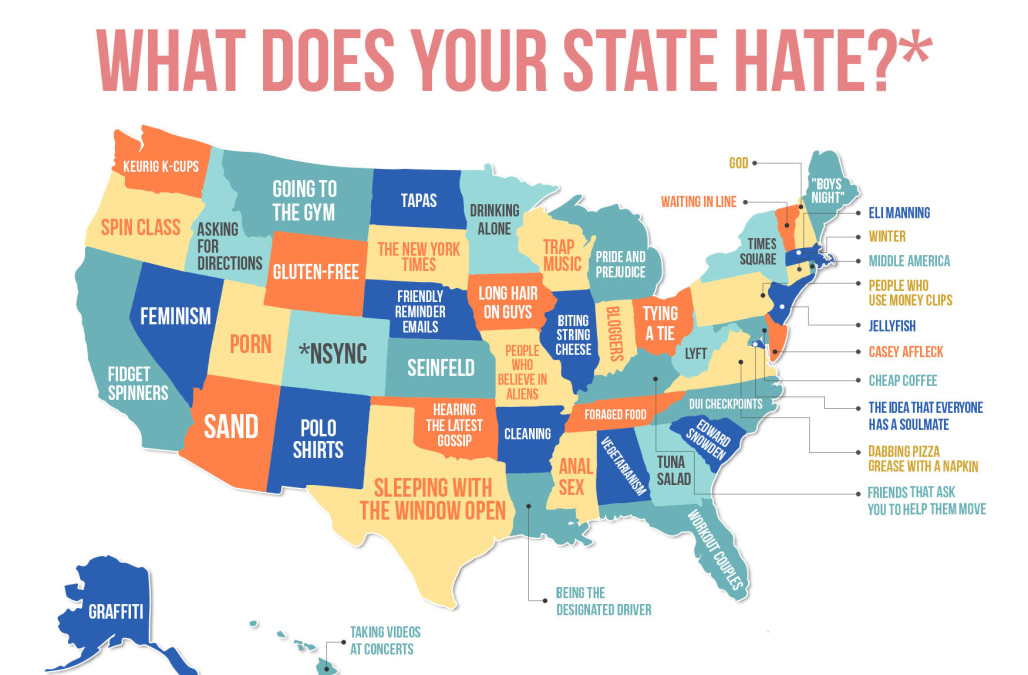 Map reveals what people love to hate by state aol lifestyle would you date someone because you both hate all the same things the dating app hater certainly suggests so gumiabroncs Choice Image