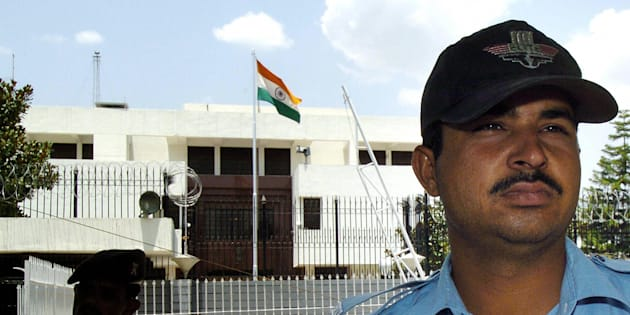 Pakistani policemen outside the Indian embassy in Islamabad.