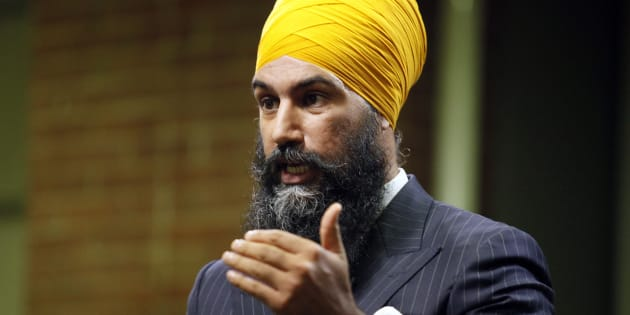 Jagmeet Singh gestures during an NDP leadership debate hosted by HuffPost Canada on Sept. 27, 2017.