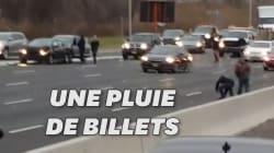 Une pluie de billets provoque accidents et bouchons sur une autoroute