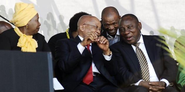 President Jacob Zuma, Cyril Ramaphosa and Nkosazana Dlamini-Zuma during the national Women's Day celebrations at the Union Buildings on August 9, 2016 in Pretoria.