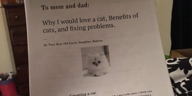 A onze ans, elle liste toutes les raisons d'avoir un chat pour convaincre ses parents d'en adopter un