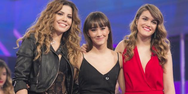 De izquierda a derecha, las tres ganadoras de 'OT 2017': Miriam (3ª), Aitana (2ª) y Amaia (1ª).