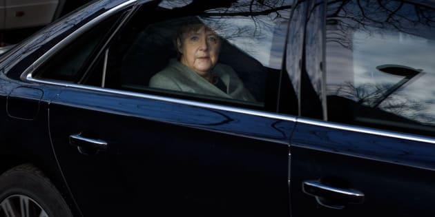 Angela Merkel llega a la sede de su partido, este lunes.