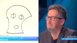 Jean-Luc Lemoine vexé par le dessin qu'un enfant a fait de lui dans