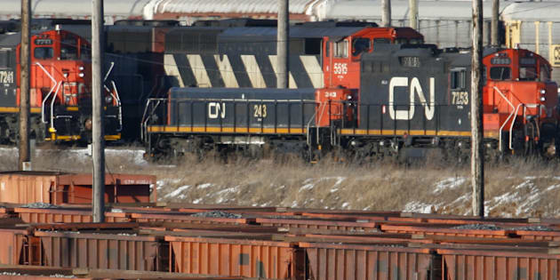 Rail cars sit in the CN MacMillan Yard in Toronto in 2007. Homes are being evacuated after a CN train derailed near Edmonton.