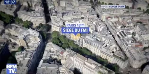 A graphic from French TV station BFM TV showing the IMF office location in Paris, France