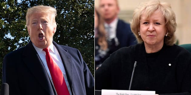 "Left: U.S. President Donald Trump leaves the White House on Jan. 6, 2019. Former prime minister Kim Campbell (right) called the U.S. president a ""motherf**ker!"" in a tweet Saturday."