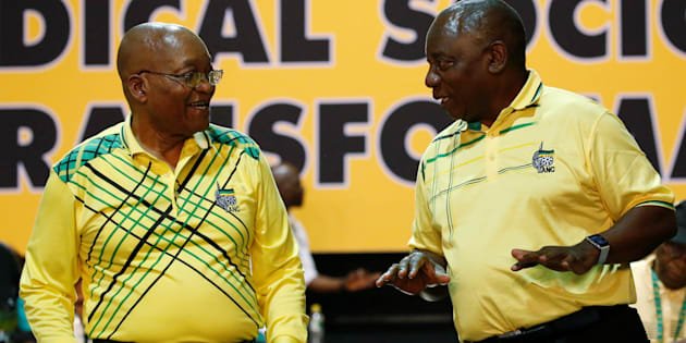 Deputy president Cyril Ramaphosa (R) chats with President Jacob Zuma during the 54th national conference of the ANC.