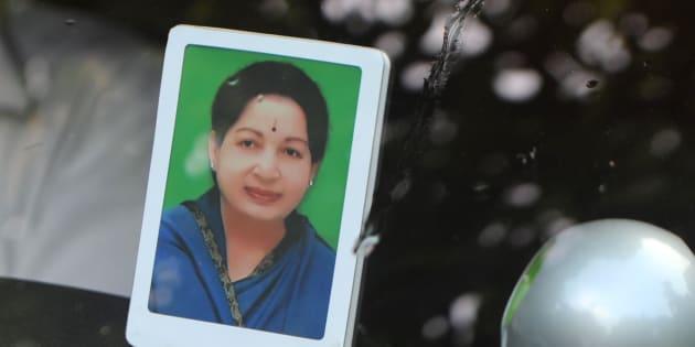 A portrait of J Jayalalithaa.