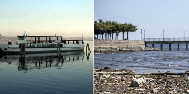 Una combo di immagini del lago di Bracciano: a sinistra il livello dell'acqua normale, a destra quello notevolmente più basso, Roma, 23 luglio 2017. ANSA