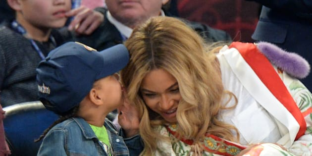 Blue Ivy Carter and Beyonce Knowles attend the 66th NBA All-Star Game at Smoothie King Center on Feb. 19, 2017 in New Orleans.