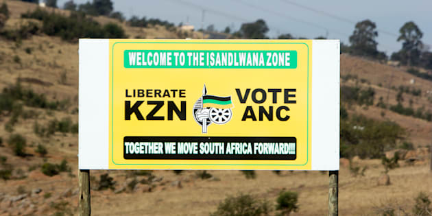 A billboard in the Isandlwana region before the 2014 elections.