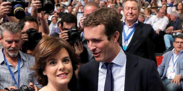 Santamaría y Casado durante el congreso del PP
