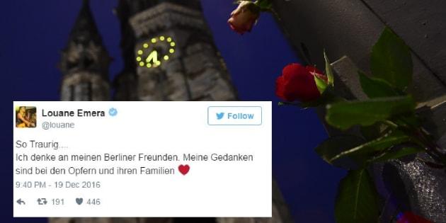 Des fleurs déposées devant le Kaiser Wilhelm Memorial Church, où le camion a foncé dans la foule le 19 décembre 2016 à Berlin.