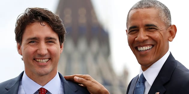 Former U.S. president Barack Obama and Prime Minister Justin Trudeau at the North American Leaders' Summit in Ottawa on June 29, 2016.