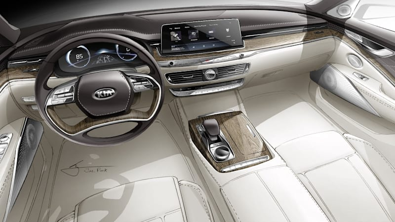 kia k900 dashboard shown in sketch ahead of redesigned car 39 s reveal autoblog. Black Bedroom Furniture Sets. Home Design Ideas